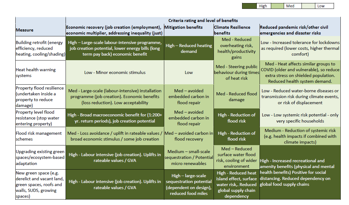 Table of illustrative 'green' recovery interventions